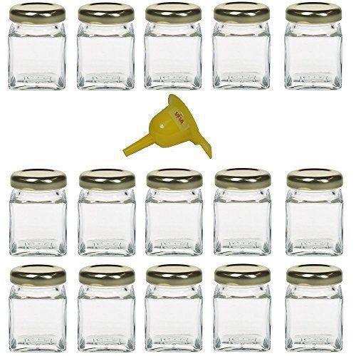 Lot de 15 mini pots 50ml pour confiture ou marmelade avec entonnoir jaune