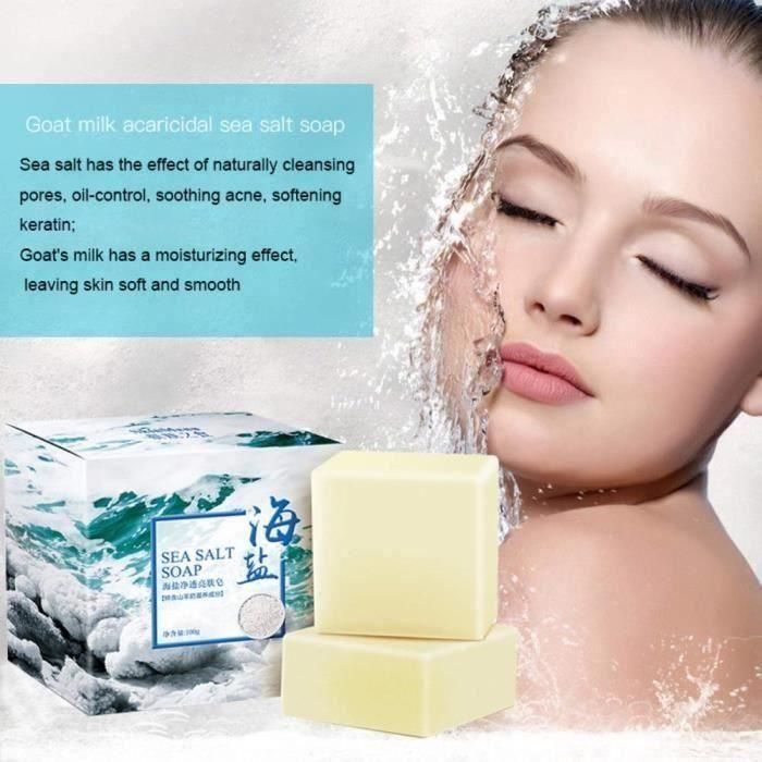 Sel de mer Pimple Savon au sel de mer naturel au lait de chèvre visage pour peaux sèches et grasses naturelles (100G)