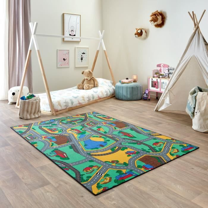 Tapis de Jeu Enfant 140x200cm, Playtime - Tapis Circuit Voiture - Lavable - Antidérapant - Carpet Studio