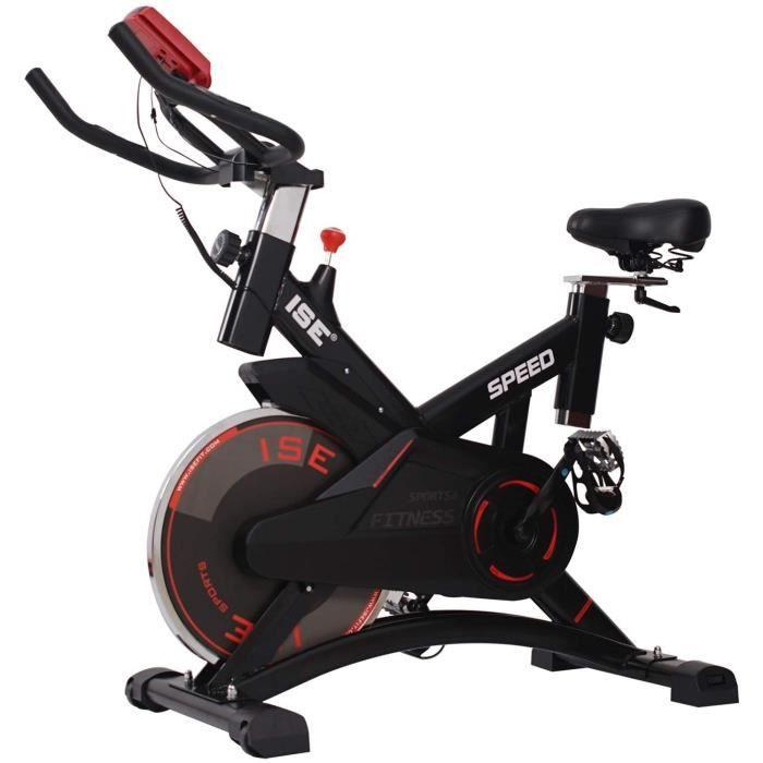 ISE Vélo d'appartement Ergomètre Cardio Vélo Spinning Biking,Petit Exercice de Fitness Indoor avec Programme et l'Ecran,Supports pou