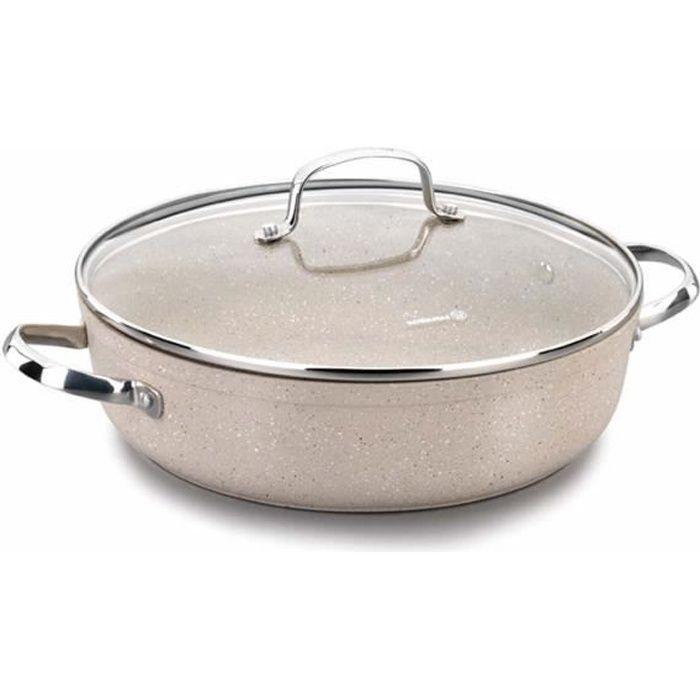 Korkmaz A1264 Granita Batterie de cuisine courte, antiadhésive, conductivité thermique élevée, base solaire, 28x7,5 cm