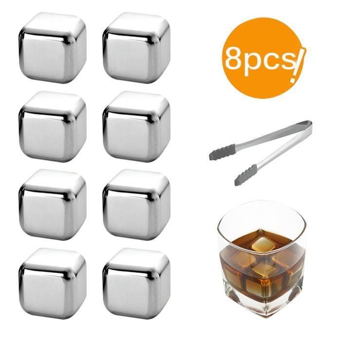 Rafraichisseur vin,Glaçons d'acier inoxydable, pierres de refroidissement réutilisables pour le vin de whisky, gardez - Type 6pcs