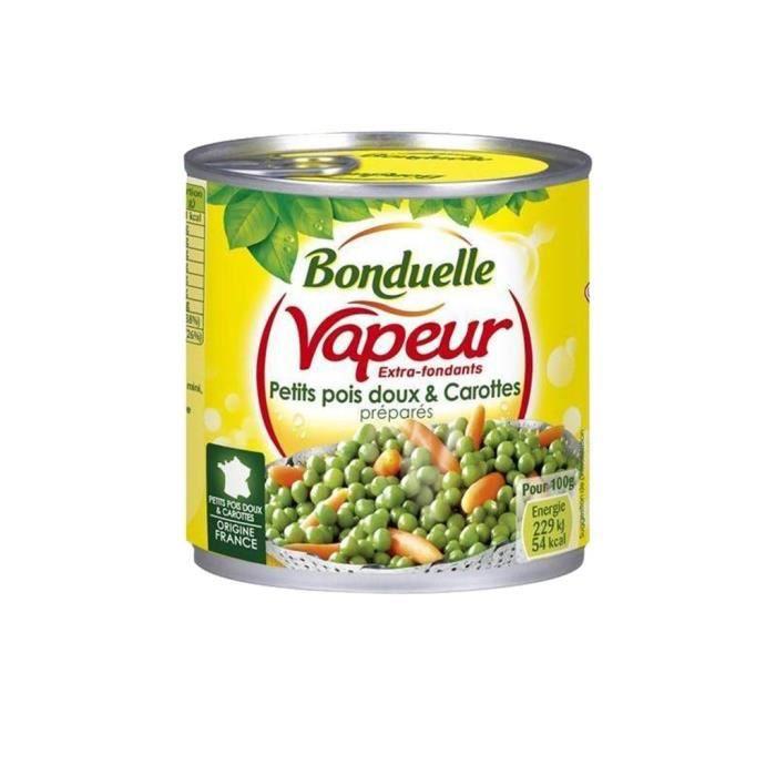 Bonduelle Vapeur Extra Fondants Petits Pois Doux & Carottes Préparés 530g (lot de 10)