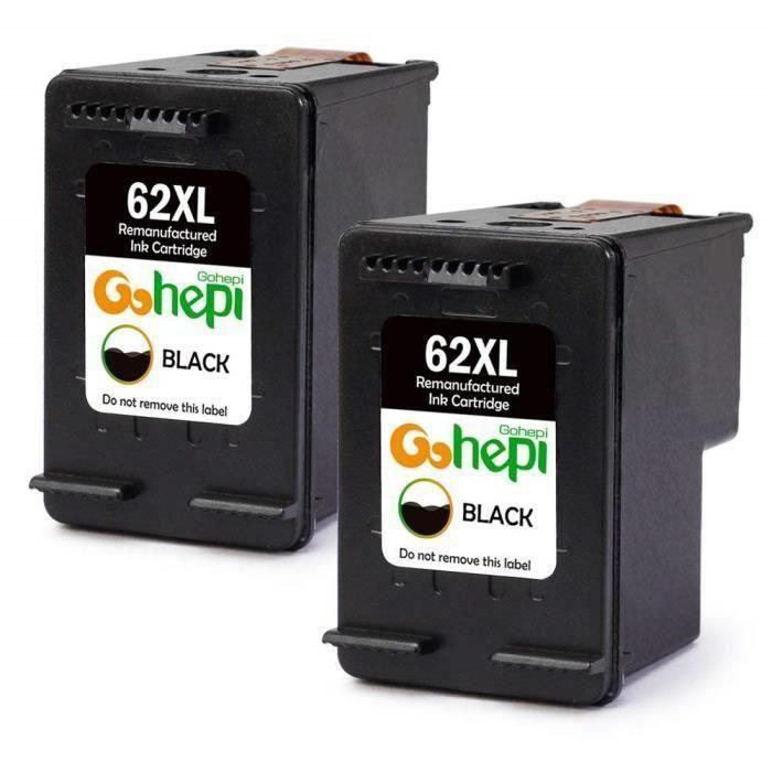 Packs 2 cartouches pour HP 62 XL Noire Compatible HP ENVY 5540 5542 5544 5546