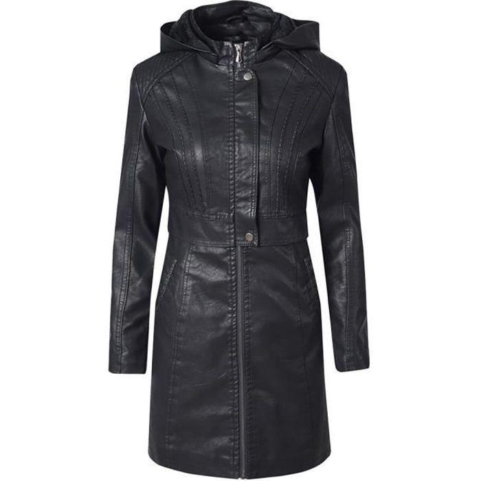Trench Femmes Tee shirt Casual Slim Zipper manches longues Bomber Veste chaude Manteau long @Noir