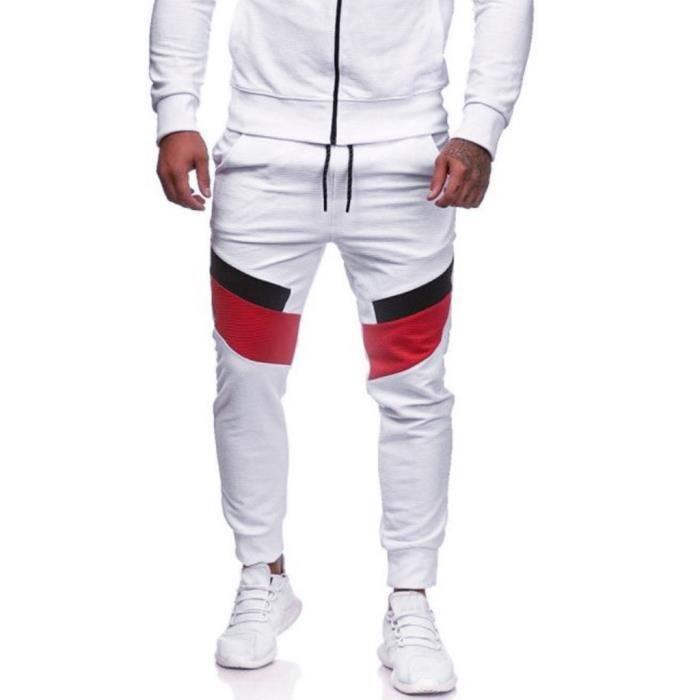 Pantalons de sport décontractés pour hommes Pantalons de jogging ajustés à patchwork Blanc Yuanliae2020