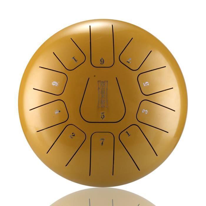NEUFU 12'' Tongue Drum Kit Aquadrum Air Tambour de Langue Handpan Main 11 Sons Vintage Or