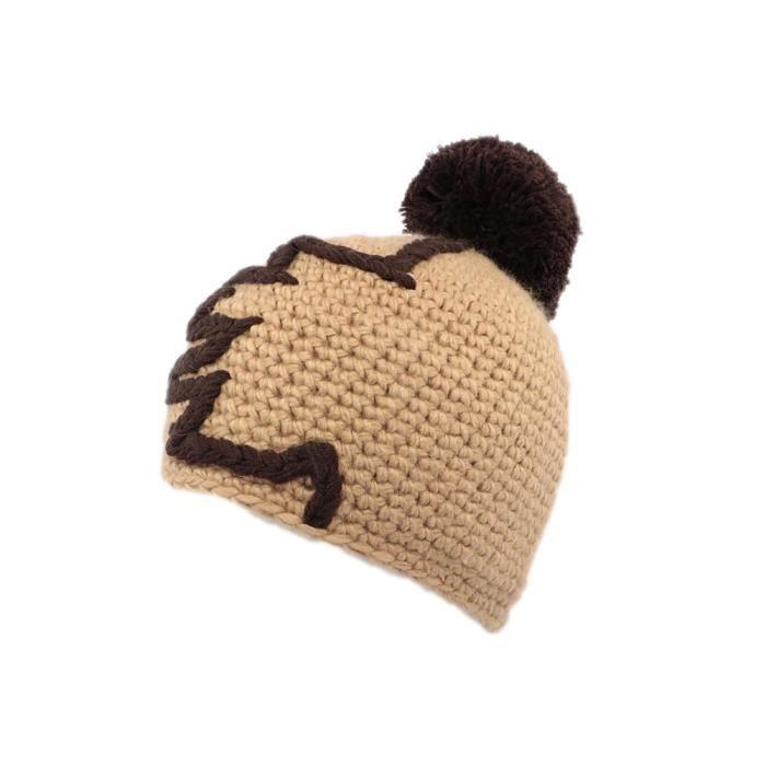 Bonnet Marron à pompon modèle Race marque Nyls Création - Bonnet en laine marron beige et chocolat style fantaisie