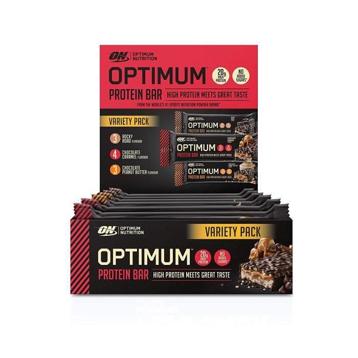 Optimum Nutrition Boîte Multi-Saveurs Barres Protéinées avec Whey Isolate sans Sucres Ajoutés 7 x 60 g + 3 x 62 g 3 Saveurs - 10963