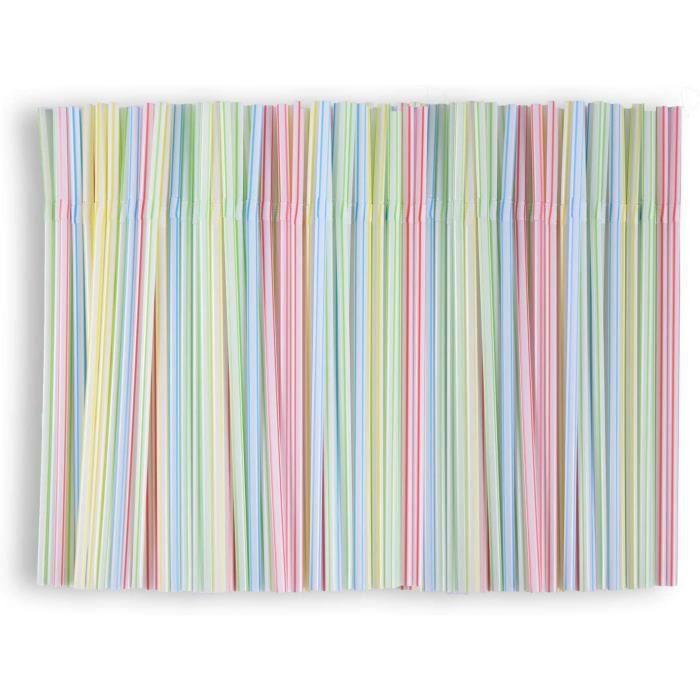 400 pailles réutilisables flexibles pour enfants et adultes Pailles pliables rayées multicolores Pailles