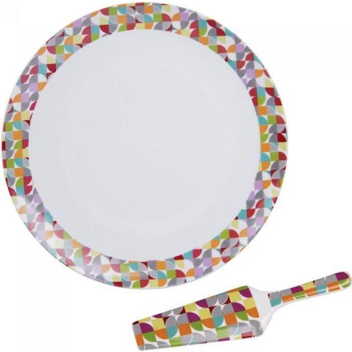 Plat à tarte 31 cm avec pelle à tarte brazilia - Table Passion Blanc
