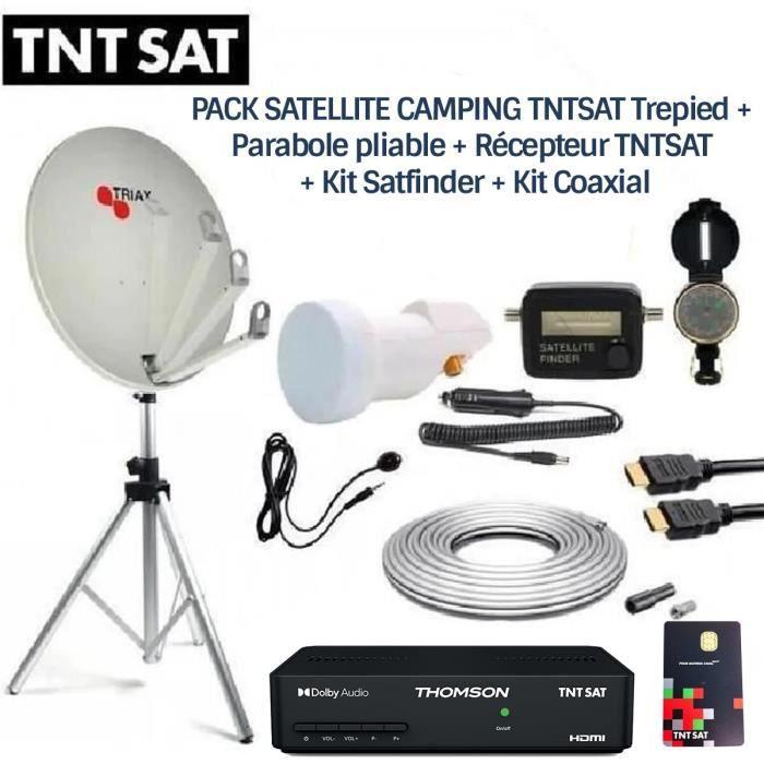 PACK SATELLITE CAMPING TNTSAT Trepied + Parabole pliable + Récepteur TNTSAT + Kit Satfinder + Kit Coaxial