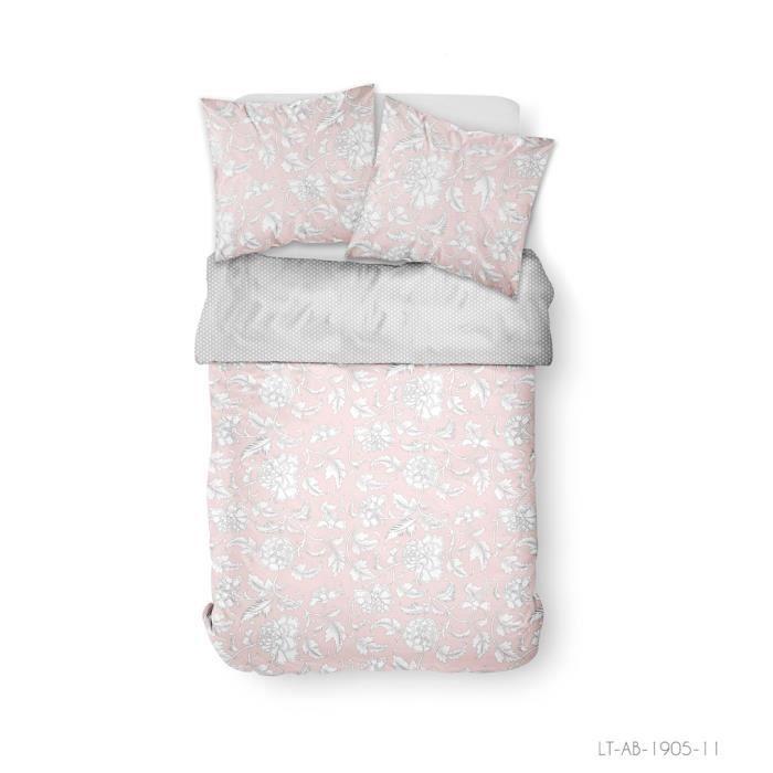 Parure de lit 2 personnes 240X260 Coton imprime rose Floral SUNSHINE