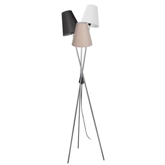 TÈTE Lampadaire en acier - Abat-jour Empire Tissu Multi Couleur - 40 x 40 x H160 cm - Aluminium et Noir - E14