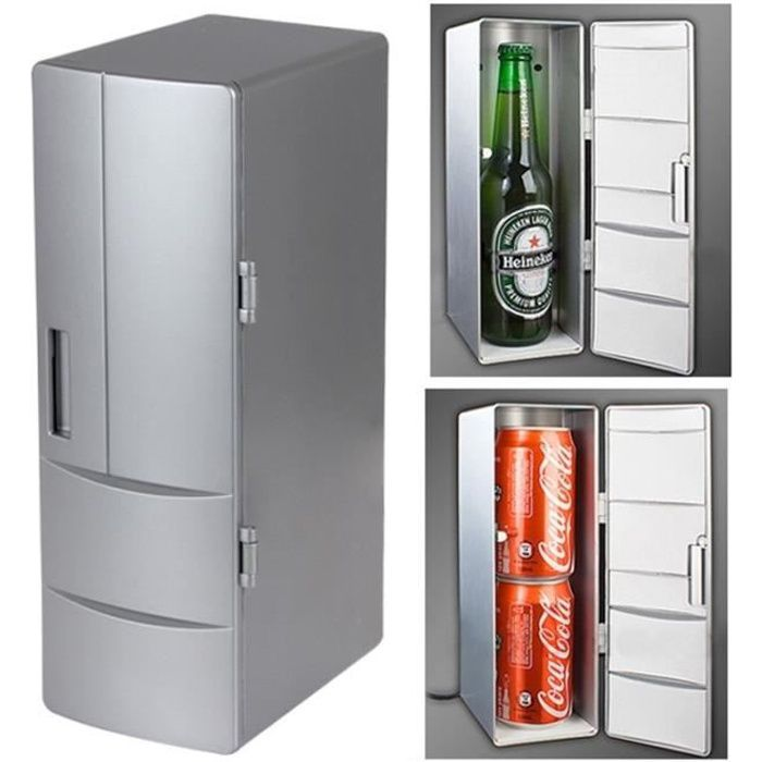 Mini Frigo USB PC Mini-réfrigérateur boissons boisson Cooler chaud Taille: 24,5 x 10,8 8,3 cm Argent