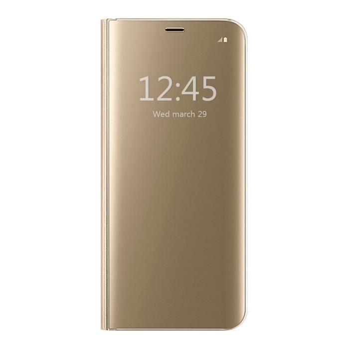 Coque pour Samsung Galaxy J3 2017(eur Version), protection Clear View Cover Flip Case Antichoc Téléphone Portable - Or