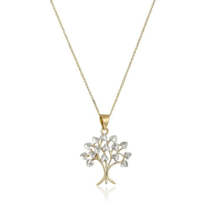 14k White And Yellow Gold Living Tree Chain Pendant Necklace, 18 BY8OM