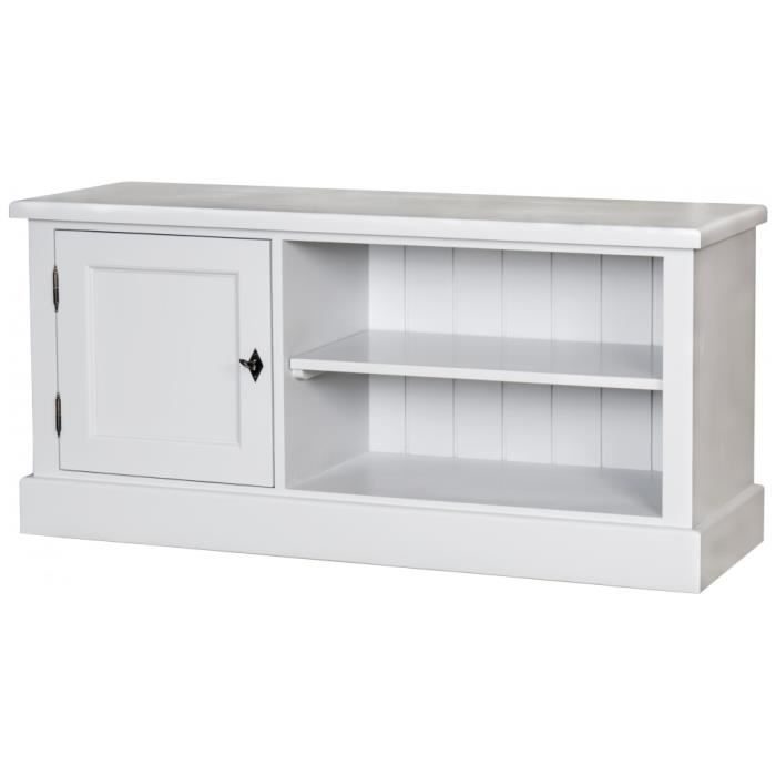 Meuble tv pin massif blanc 1 porte 2 niches achat for Meuble en pin massif
