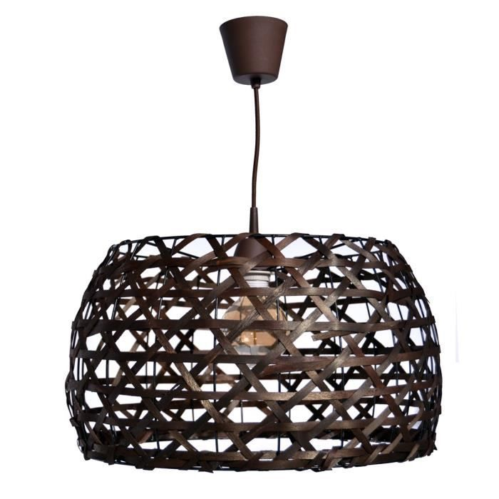 Lustre suspension osier 35 cm marron