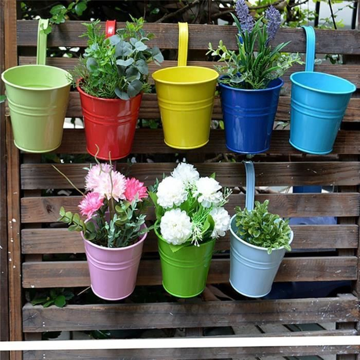 10pcs pot de fleur suspendus pots de jardin balcon seau en m tal porteurs de fleurs crochet. Black Bedroom Furniture Sets. Home Design Ideas