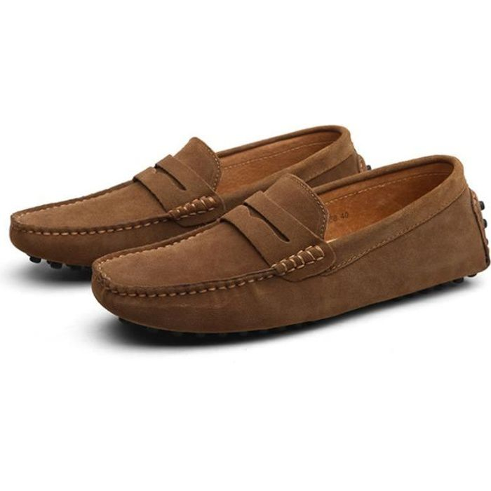 Mocassins Hommes Cuir Ultra Comfortable Appartements Chaussures BZH-XZ071Marron43 xDSynO424