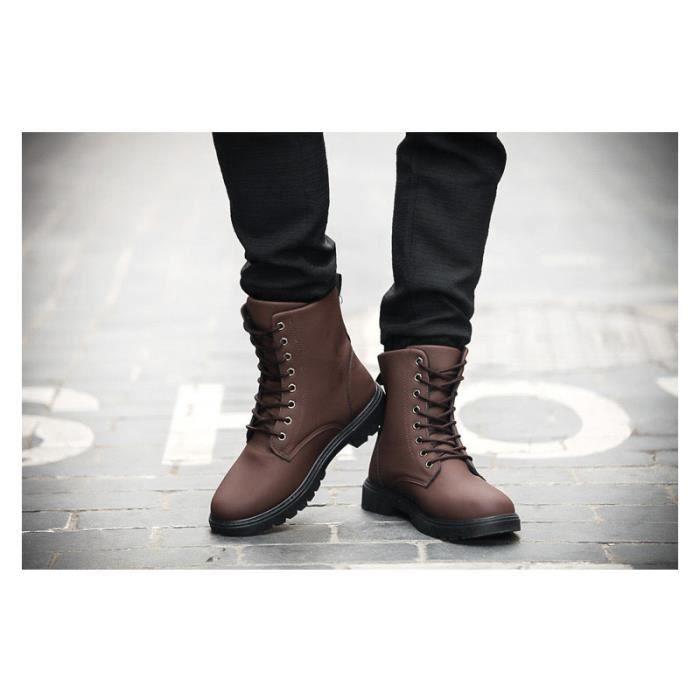 Haute Antidérapant bottine Combat Chaussure Durable Couleur AHZ Top XZ3016 Boots homme MarronNori Pure XPiOuZk