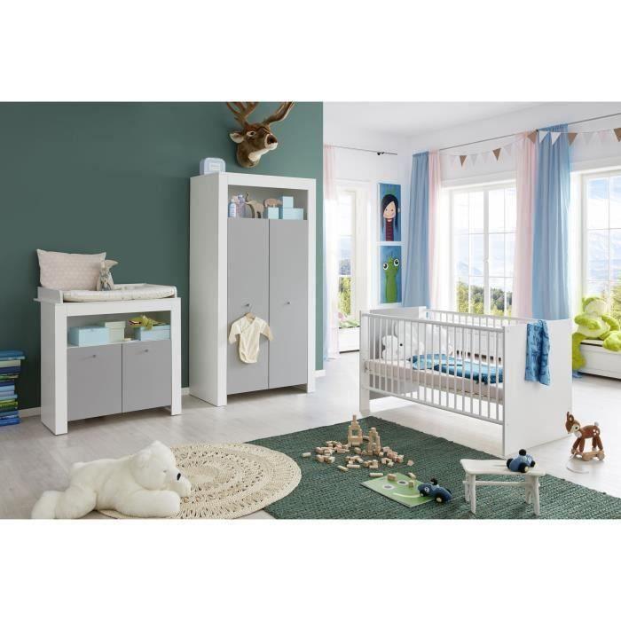 PIA Chambre bébé complète : Lit 70*140cm + Armoire + Commode - blanc/gris