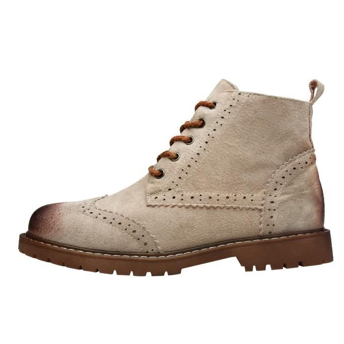 Brootin Nubuck Leather Boots Casual Booties Brogue Shoes Lace Up WMJ51 Taille-37 1-2
