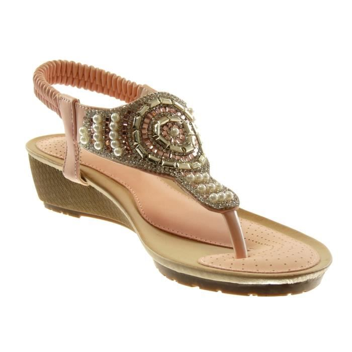 Angkorly - Chaussure Mode Sandale Tong slip-on salomés femme strass diamant perle Talon compensé 4.5 CM - Rose - L6130 T 38