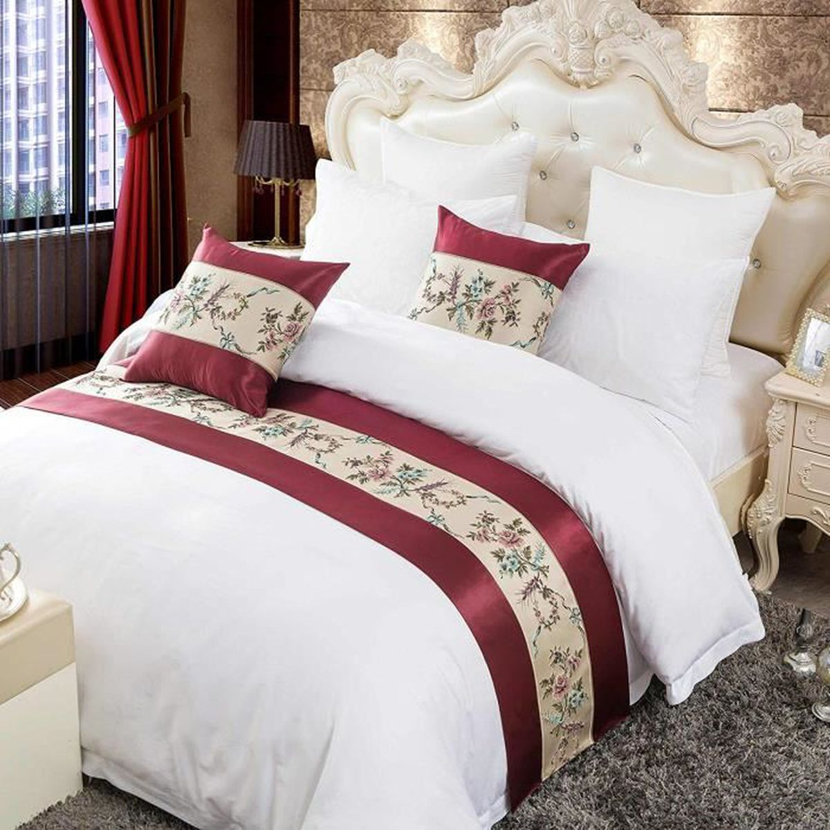 Chambre Adulte Style Asiatique style palais chinois chemin lit luxe rétro bed runner