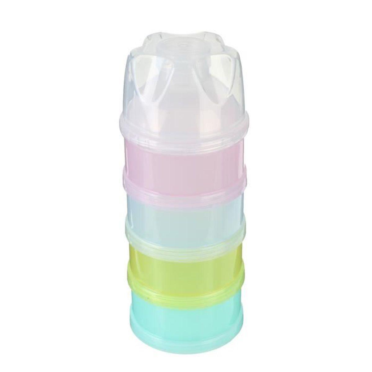 D DOLITY Boite de Lait en Poudre B/éb/é Doseuse 4 Compartiments en PP de Qualit/é Alimentaire Color/é Bleu