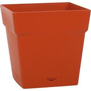 JARDINIÈRE - BAC A FLEUR Pot plastique carré Toscane Eda - 10,2 l - Soucoup