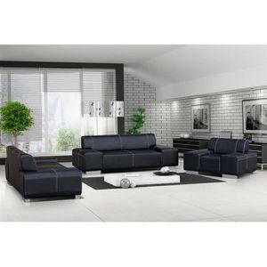 ENSEMBLE CANAPES Ensemble canapé et fauteuil 3+2+1 FLAVIO noir