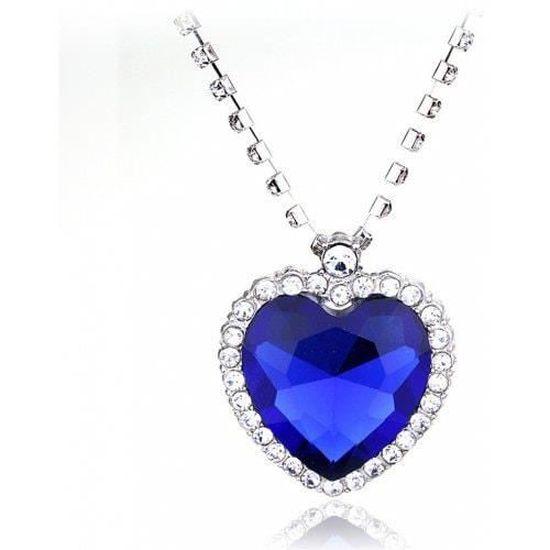 Collier Gros Coeur Bleu Argenté Bleu Lagon - Achat / Vente sautoir ...