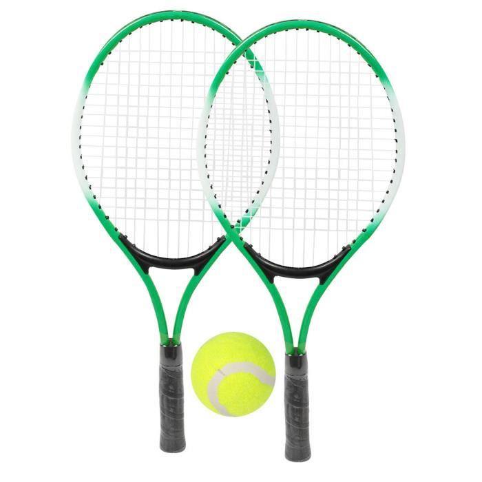 Raquette de tennis pour enfants en alliage de fer - Raquette d'entraînement pour débutants avec balle et sac de transport (vert)-COL