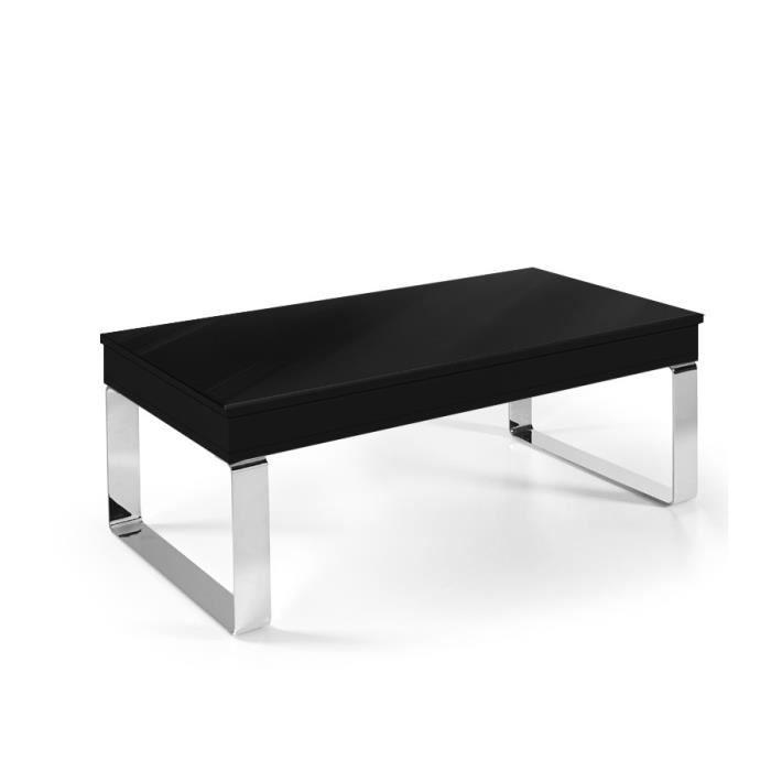 TABLE BASSE RELEVABLE LUGA - Pied chromé NOIR BRILLANT
