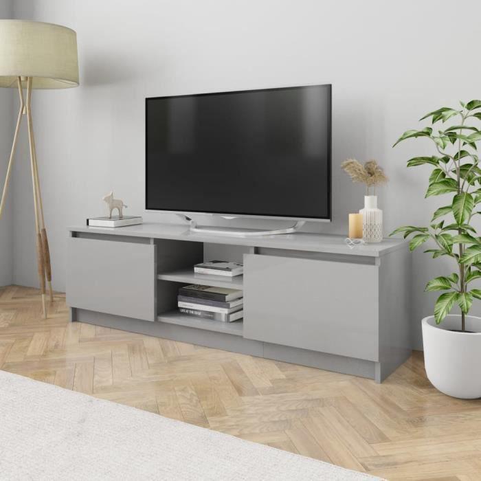 Meuble TV Gris brillant 120x30x35,5 cm Aggloméré-MAD