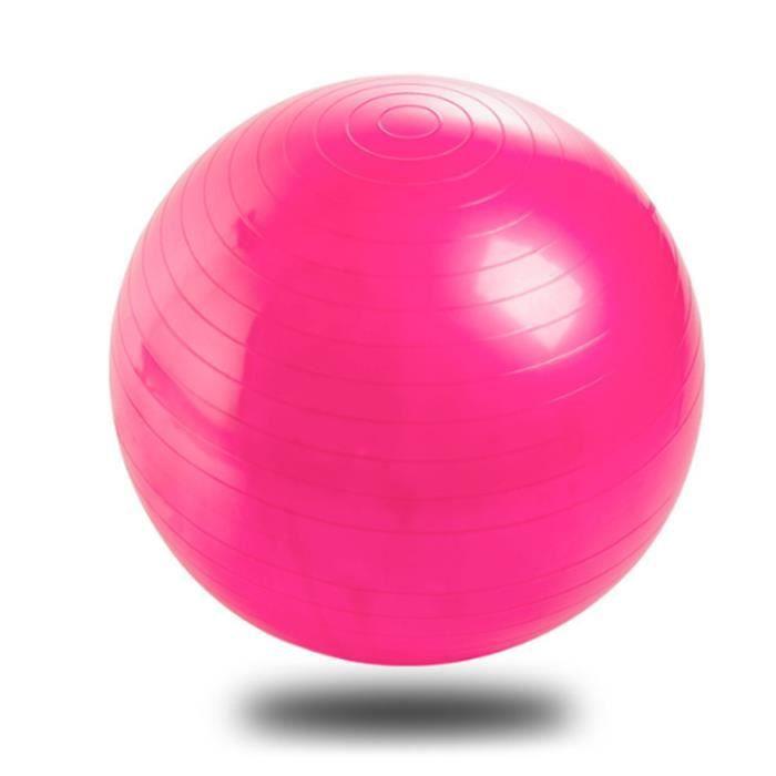 Ballon de Gymnastique Ballon Fitness Yoga Balle d'Exercice Antidérapant Balle Gymnastique avec Pompe, 65cm, Rose