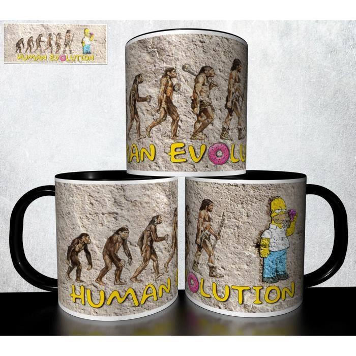 MUG personnalisé 4EVER1 Tasse à café - EVOLUTION DE L'HOMME SUPER HEROS HOMER SIMPSON Réf 20
