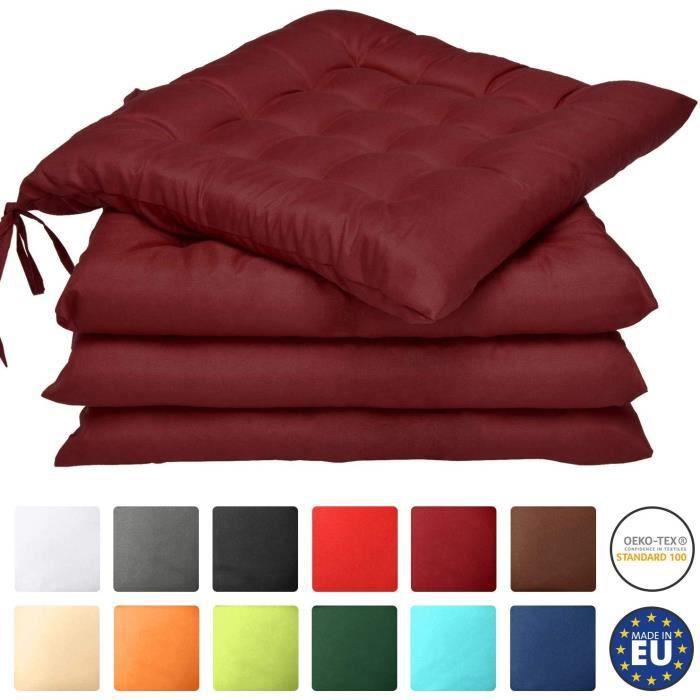 Beautissu Lot de 4 galettes de Chaise Lea - Confortable et coloré - Idéal pour intérieur et extérieur - 40x40x5 - Rouge foncé