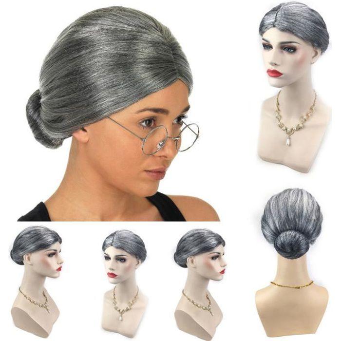 Vieille dame grand-mère granny perruque grise chignon cheveux grande mère déguisement Geekoko 1671