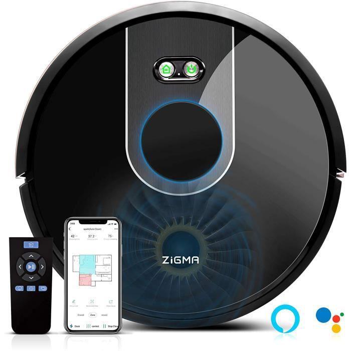 Zigma Spark Robot Aspirateur, Aspirateur Robot Laveur avec fonction d'essuyage, APP Exclusive et Navigation LDS. Parfait pour les Ta