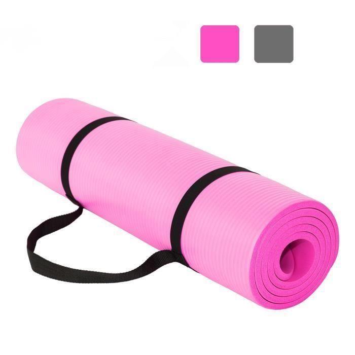 Tapis de Yoga et Fitness, Extra Epais 10 mm - 15 mm, 180 x 60 cm, Parfait pour des Exercices au Sol, Le Camping, Le Gym, Rose