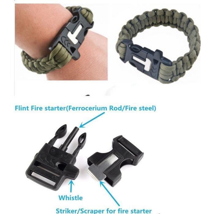 Outdoor Survival Bracelet Kits Paracord Engrenage Whistle Flint Feu Starter Scraper