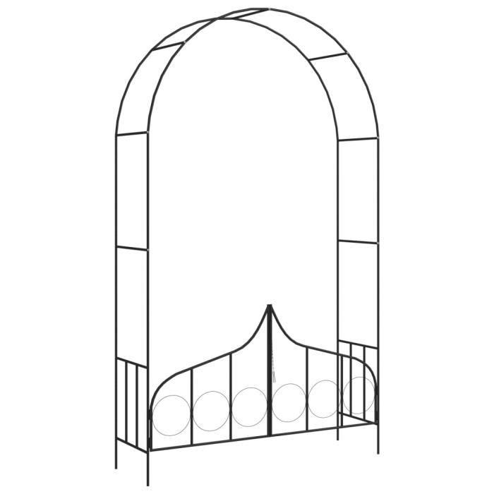 •MONDE7639Arceau Voûte de jardin Elégant-Arche de jardin-Arceau à Rosiers Pergola à appentis avec portail Noir 138x40x238 cm Fer