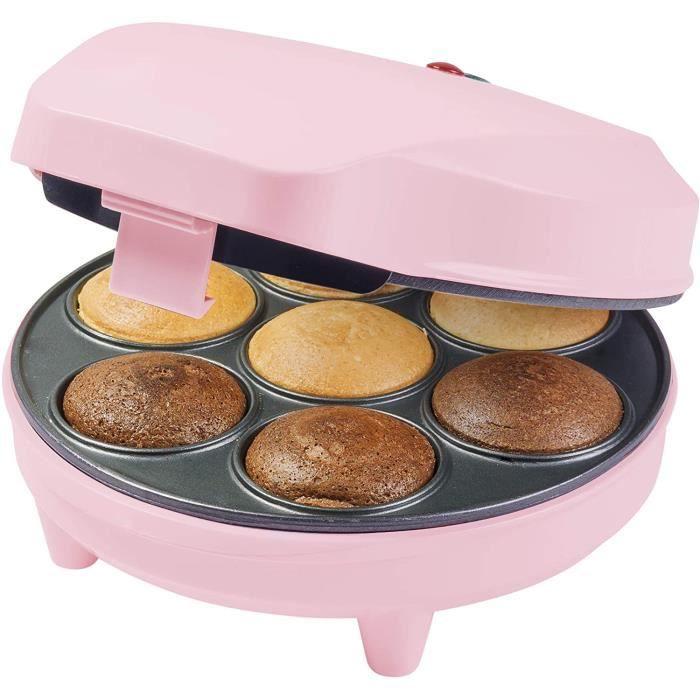 Bestron Appareil à cupcake au design rétro, Sweet Dreams, Revêtement antiadhésif, 700 W, Rose