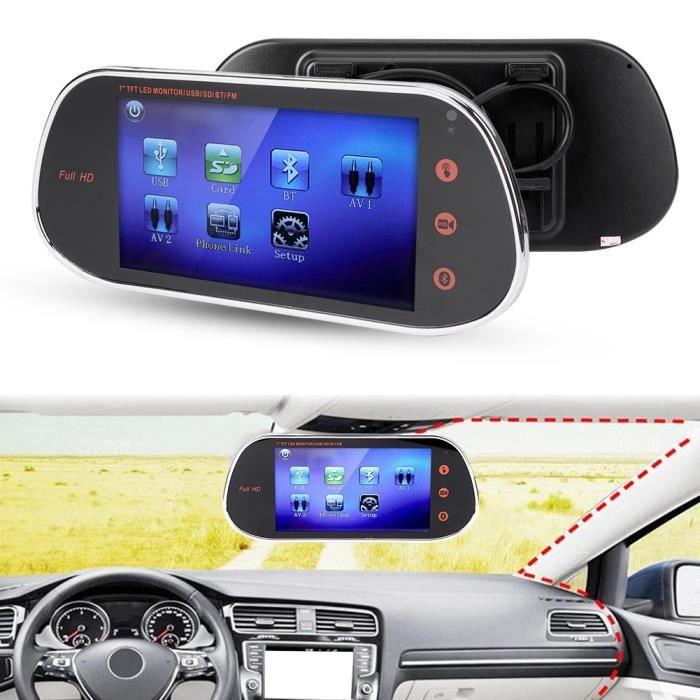 7po Caméra de Rétroviseur DVR 1080P HID Écran Tactile Vision Nocturne avec MP5 Télécommande Bluetooth