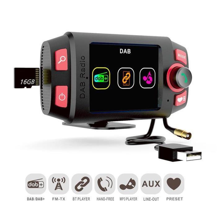 Accessoire audio - vidéo,Voiture DAB +-DAB Radio adaptateur voiture FM transmetteur avec écran 2.4 pouces et Bluetooth voiture