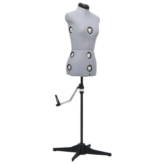 Top confort - Mannequin de robe ajustable pour femme - Buste de couture - Gris S Taille 33-40 FLY20420