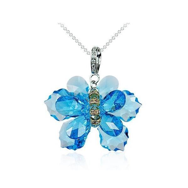 Collier Papillon Cristal de Swarovski Element Bleu